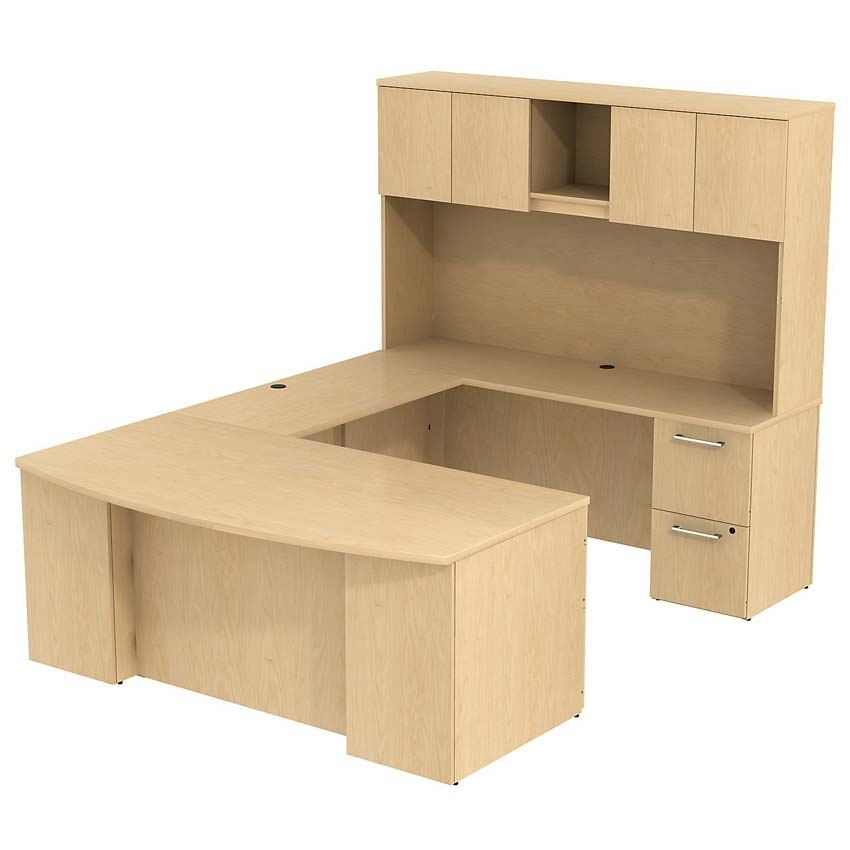Bush 300 Series 72w X 36 D Bow Front U Station With 72 H Hutch Natural Maple