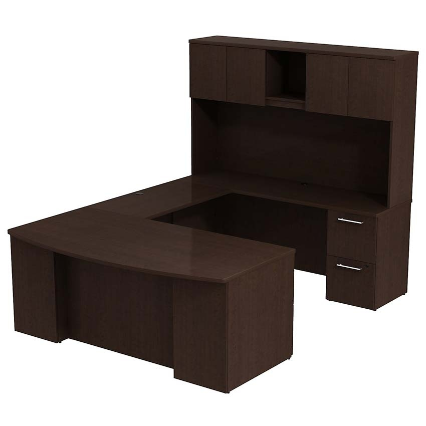 Bush 300 Series 72w X 36 D Bow Front U Station With 72 H Hutch Mocha Cherry