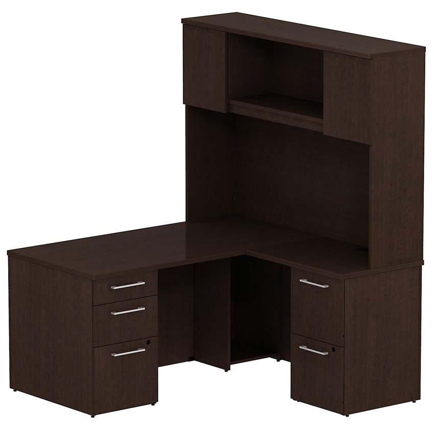 Bush 300 Series 60 W X 30 D Single Pedestal L Desk With Hutch Mocha Cherry