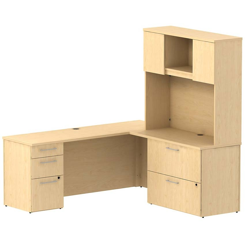 Bush 300 series 72 w x 22 d l desk with 2 drawer lateral file natural maple - Bush home office furniture ...