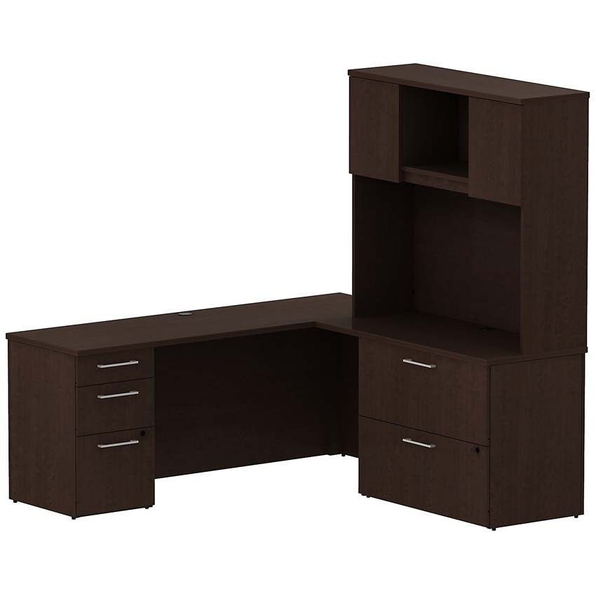 Bush 300 Series 72 W X 22 D L Desk With 2 Drawer Lateral File Mocha Cherry