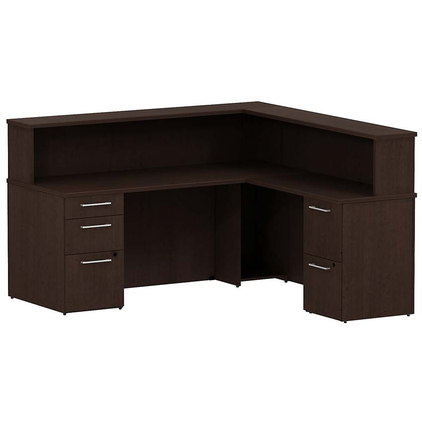 Bush 300 Series 72 W X 72 D Reception L Station With Pedestal Mocha Cherry