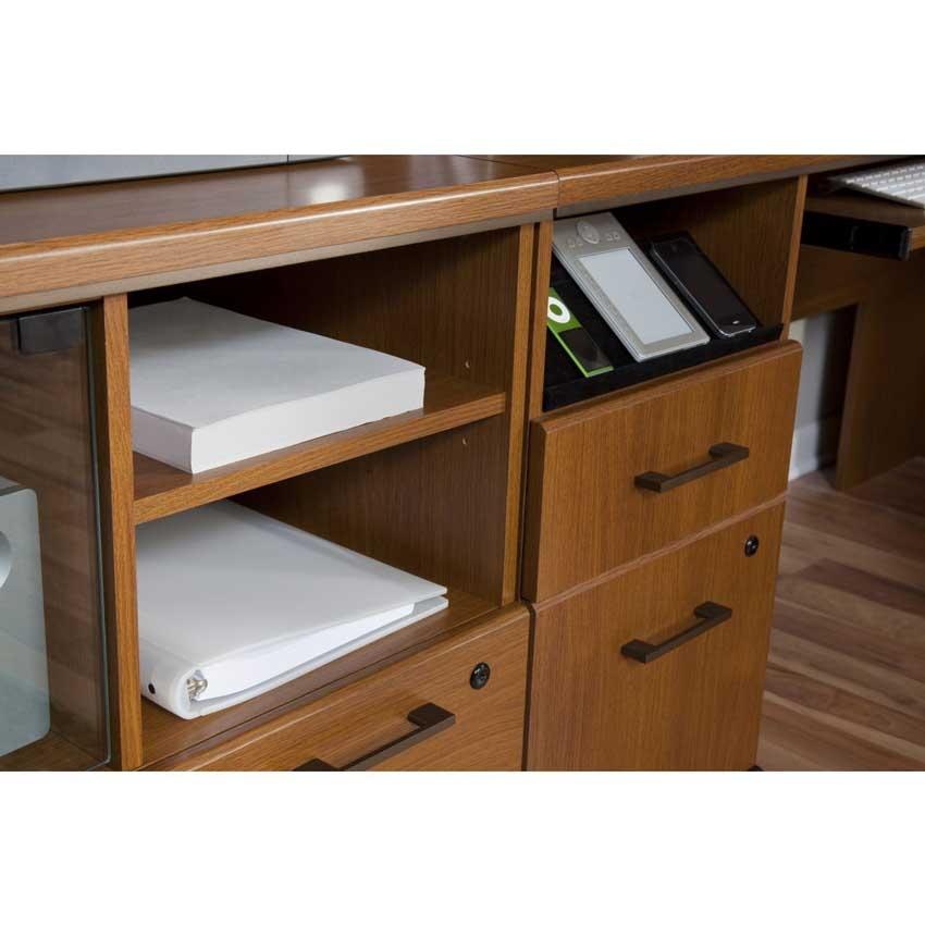 Bush achieve l desk with hutch lateral file printer stand and bookcase in warm oak - Bush desk assembly instructions ...