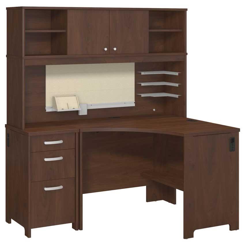 Bush envoy corner desk with hutch and three drawer pedestal in hansen cherry - Bush desk assembly instructions ...
