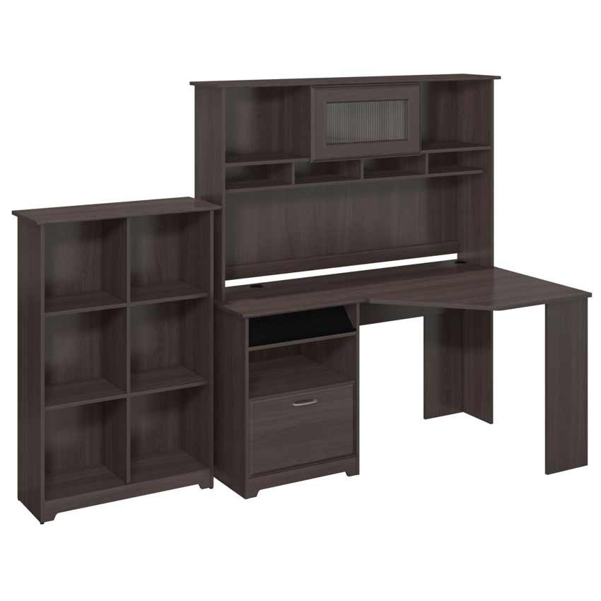Bush cabot desk suite with bookcase cab006hrg - Bush desk assembly instructions ...
