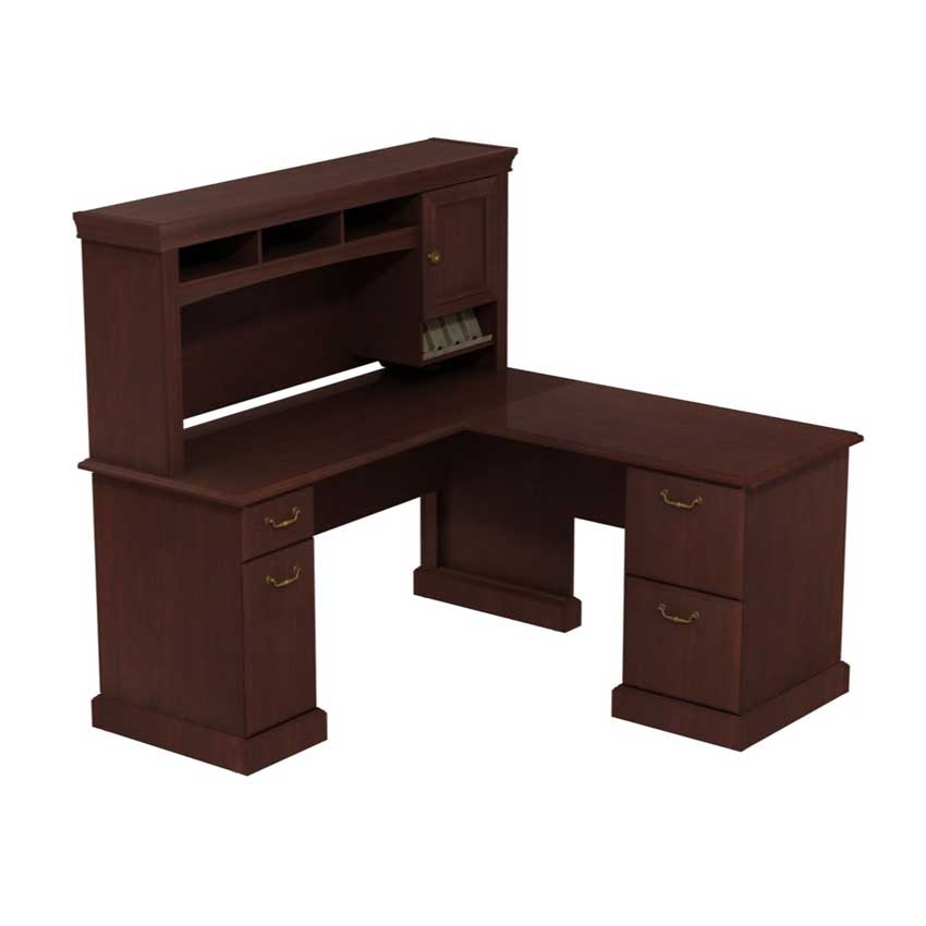 Syndicate 60 inch L Desk with Hutch Storage Harvest