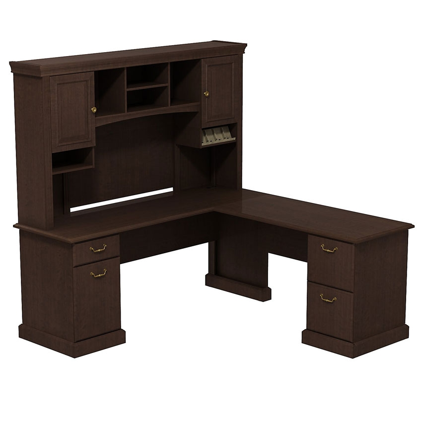 Syndicate 72 inch l desk with hutch mocha cherry syn008mr - Office desk with hutch ...