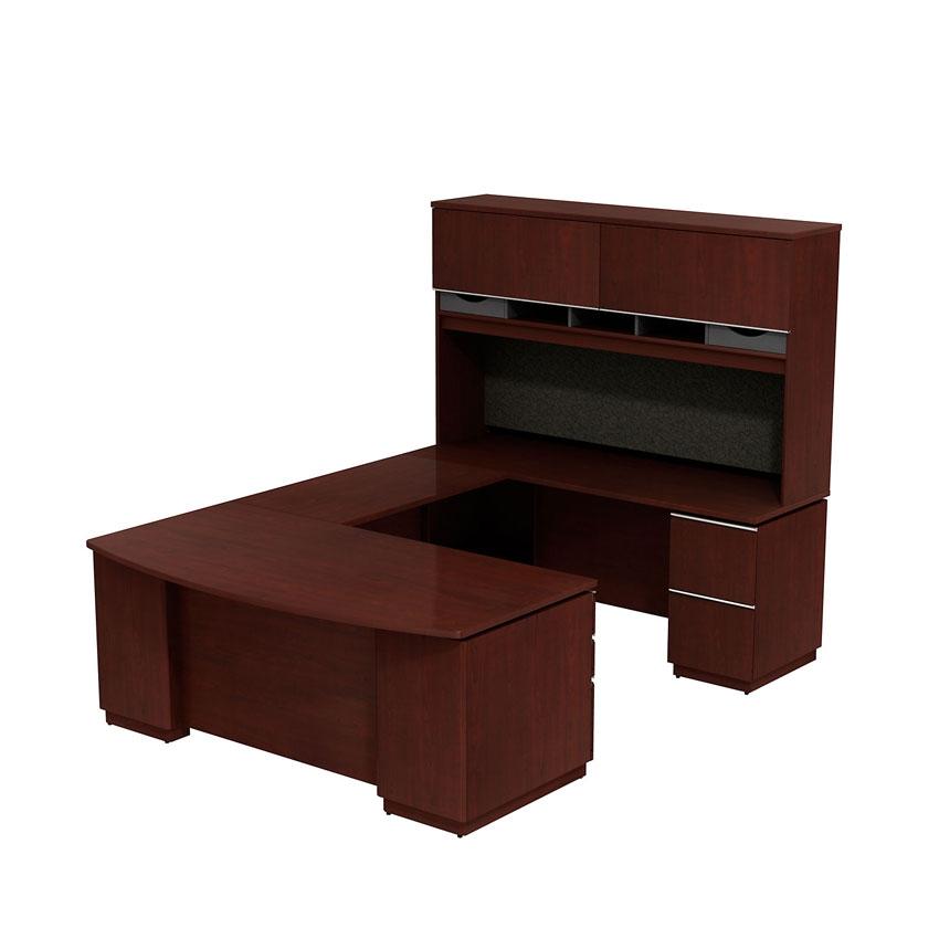 Bush milano2 72x36 bow front right hand u desk with hutch harvest cherry - Bush desk assembly instructions ...