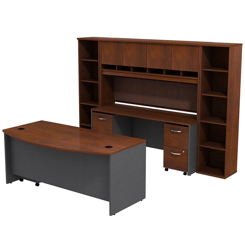 Bbf Series C 72x36 Bowfront Desk With Credenza Hutch And Bookcases Src0010hcsu