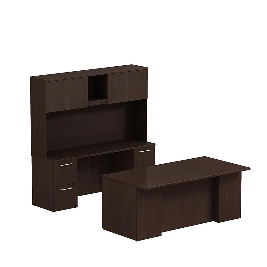 Bush 300 Series 72x36 Double Pedestal Desk With Credenza