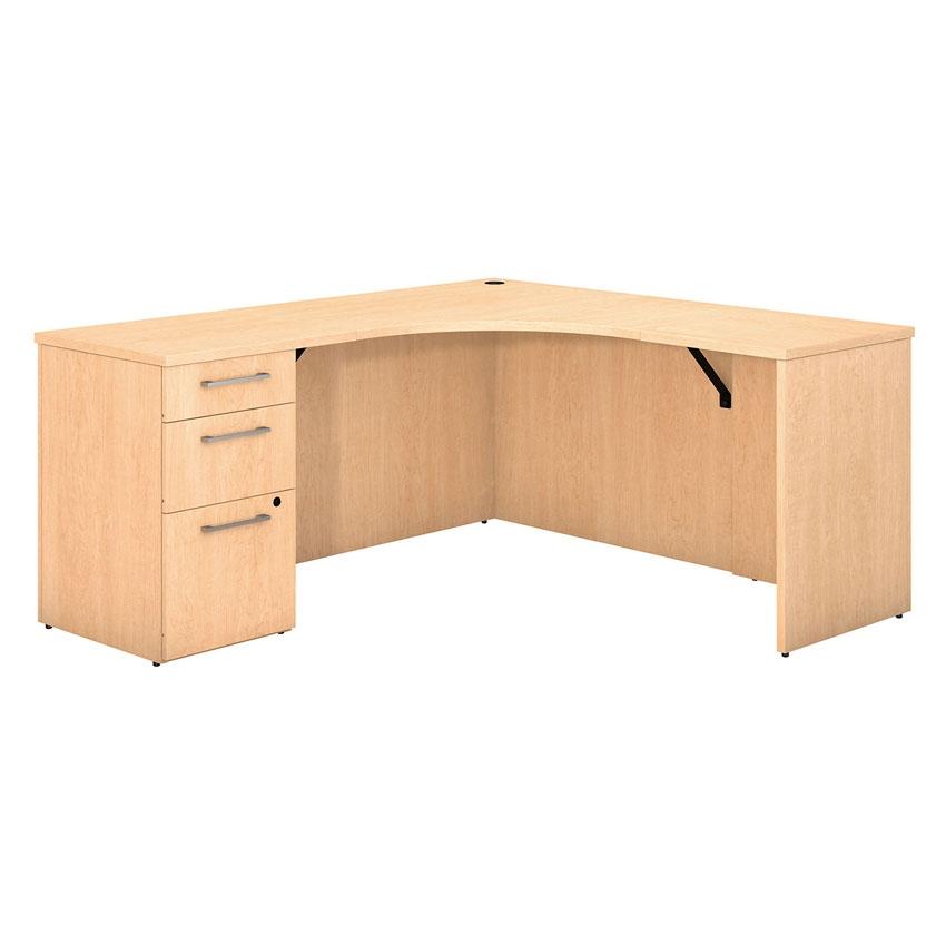 Bush 300 Series Corner Desk With 3 Drawer Pedestal In