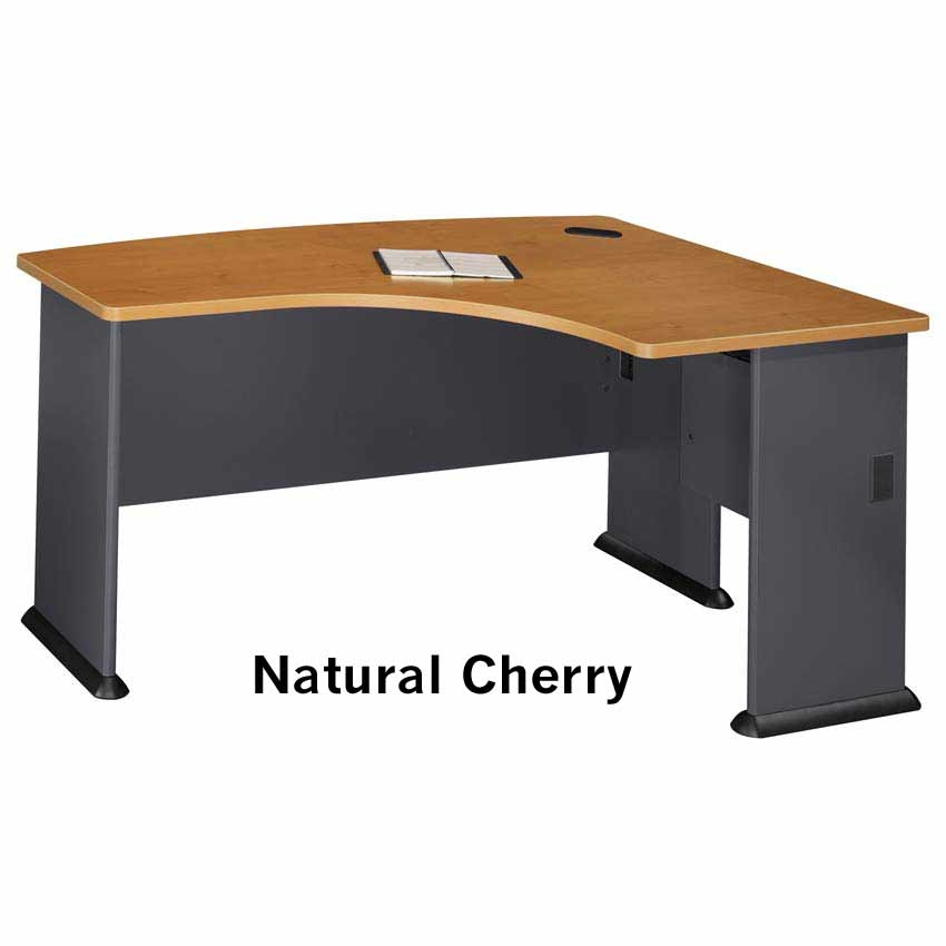 Series A Nat Cherry Right L Bow Desk Wc57422 Bush Furniture