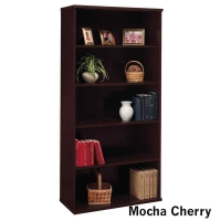 Bush Series C 36 inch W 5-Shelf Bookcase - Mocha Cherry