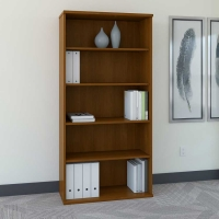 Bush Series C 5-Shelf Bookcase  Warm Oak