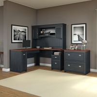 Bush Fairview L Shaped Desk with Hutch & File - Antique Black