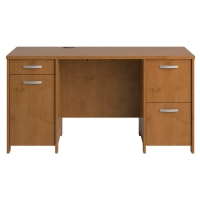 Bush Envoy Collection Double Pedestal Desk  Natural Cherry