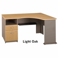 Bush Series A Expandable Corner Desk (Light Oak)
