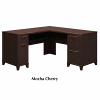 Bush Enterprise 60 inch L-Desk Kit - Mocha Cherry