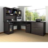 Bush Cabot L Desk with Hutch and Lateral File