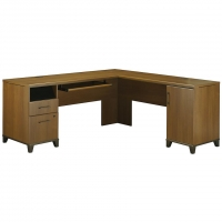 Bush Achieve Collection L-Shaped Computer Desk  Warm Oak