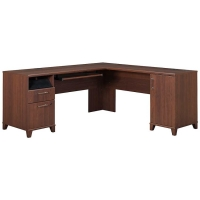 Bush Achieve Collection L-Shaped Computer Desk  Sweet Cherry