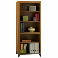 Bush Achieve Collection 5-Shelf Bookcase Warm Oak Finish