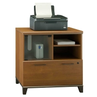 Bush Achieve Collection Lateral File-Printer Stand  Warm Oak Finish