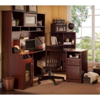 Bush Cabot L Desk with Hutch and Cube Bookcase