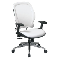 White Vinyl Managers Chair with Polished Aluminum Base