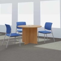 Bush 42 inch Round Conference Table Wood Base - Modern Cherry