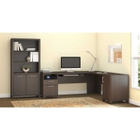 *AVAIL 12/11 Bush Achieve L Desk with Bookcase in Sweet Cherry