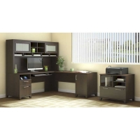 Bush Achieve L Desk with Hutch & Lateral File - Sweet Cherry