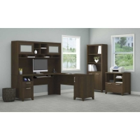 *AVAIl 12/11 Bush Achieve L Desk with Hutch, Lateral File & Bookcase - Sweet Cherry
