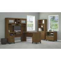 Bush Achieve L Desk with Hutch, Lateral File & Bookcase - Warm Oak