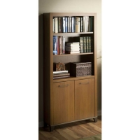 Bush Achieve Bookcase with Doors in Warm Oak