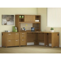 Bush Envoy Corner Desk and Hutch with Storage in Natural Cherry