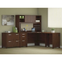 Bush Envoy Corner Desk and Hutch with Storage in Hansen Cherry