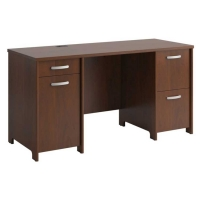 Bush Envoy Collection Double Pedestal Desk  Hansen Cherry