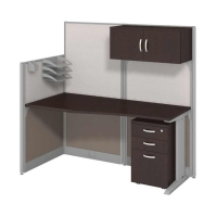 Bush Office in an Hour Straight Workstation with Storage and Accessory Kit