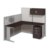 Bush Office in an Hour L Workstation with Storage and Accessory Kit