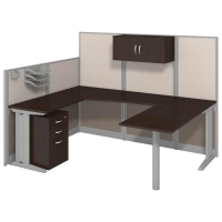 Bush Office in an Hour U Workstation with Storage and Accessory Kit
