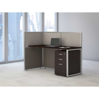 Bush Easy Office Open 60 inch Straight Desk with Pedestal - Mocha Cherry