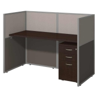 Bush Easy Office Closed 60 inch Straight Desk with Pedestal - Mocha Cherry