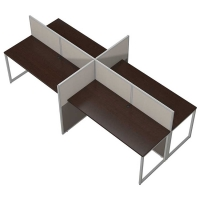 Bush Easy Office Open 4 Person 60 inch Straight Desk  - Mocha Cherry