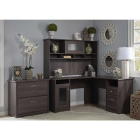 Bush Cabot L Desk with Hutch & Lateral File