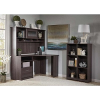 Bush Cabot Corner Desk Suite with Hutch and Cube Bookcase