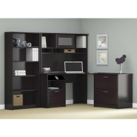 Bush Cabot Corner Desk Suite - Espresso Oak