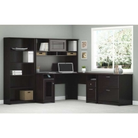 Bush Cabot L Desk Office Suite - Espresso Oak
