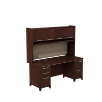 Bush Enterprise 72W x 30D Double Pedestal Desk with Hutch - Harvest Cherry