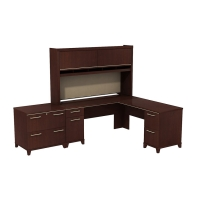 Bush Enterprise 72W L Desk with Hutch and Lateral File - Harvest Cherry